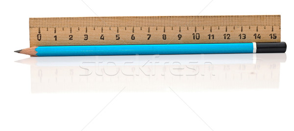 closeup ruler and wood pencil on white Stock photo © inxti