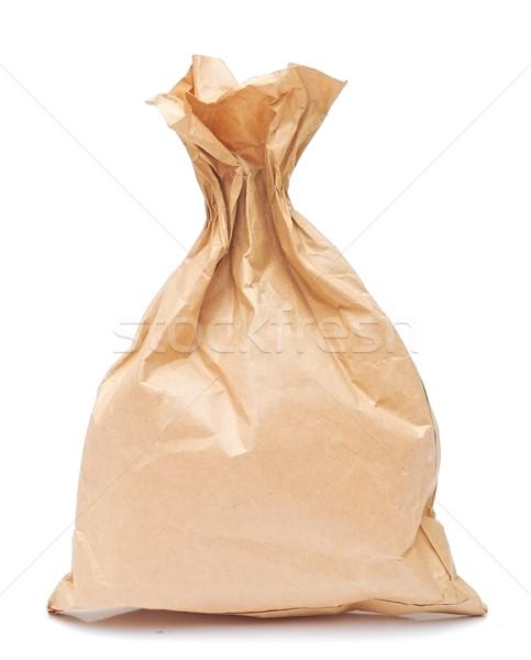 Papel pardo almoço saco isolado branco Foto stock © inxti