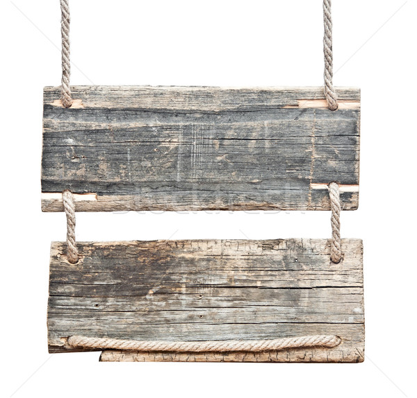 blank wooden sign hanging on a rope. isolated on white. Stock photo © inxti