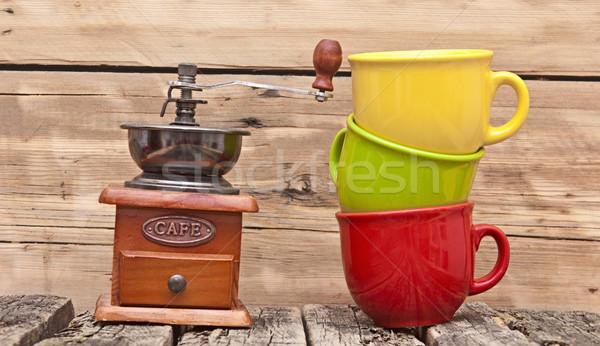 Renkli kahve değirmen grunge ahşap duvar Stok fotoğraf © inxti