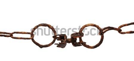 Vecchio arrugginito catena isolato bianco sicurezza Foto d'archivio © inxti
