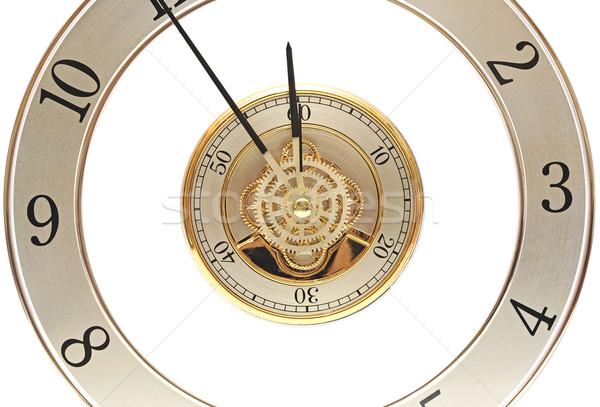 Közelkép arany óra sebességváltó fehér technológia Stock fotó © inxti