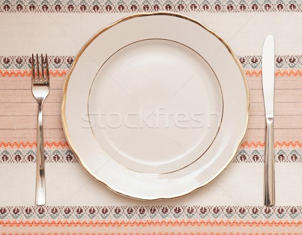 Kés fehér tányér villa asztalterítő textúra Stock fotó © inxti
