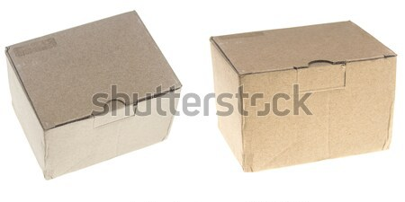 Foto stock: Marrón · cartón · cajas · aislado · blanco · fondo