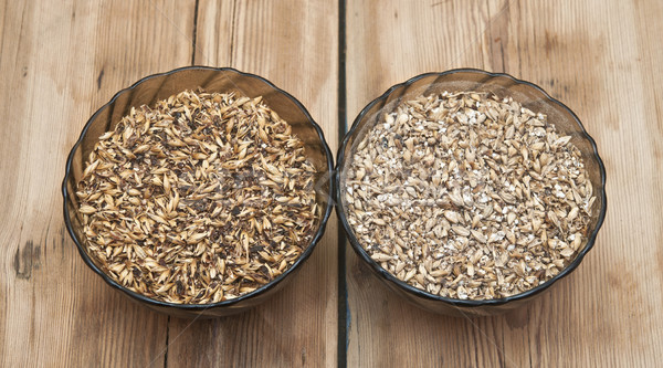Stock photo: Two glasss bowl with beer ingredients barley malt