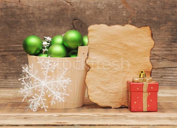 Photo stock: Noël · décoration · vintage · papier · table · en · bois · mur