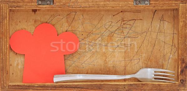 Papír forma szakács sapka öreg fából készült kávé Stock fotó © inxti