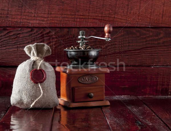 Café moulin toile de jute sac plein Photo stock © inxti