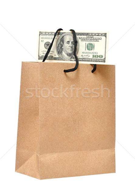 Dinheiro saco branco dom numerário nota Foto stock © inxti