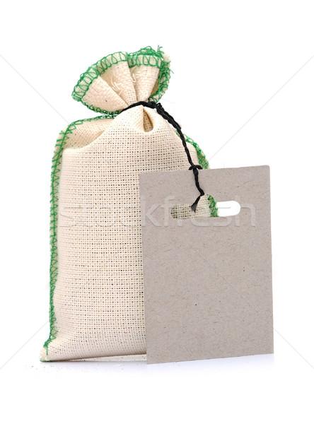 Pano de saco saco etiqueta branco fundo tecido Foto stock © inxti