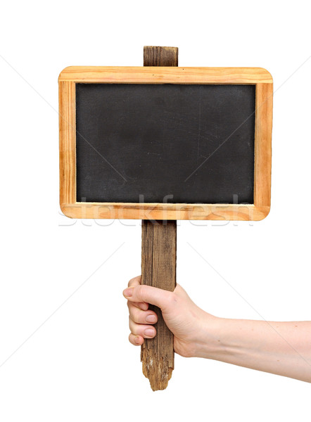 Chalkboard sign on hand isolate on white Stock photo © inxti