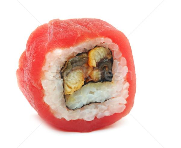 Foto d'archivio: Sushi · rotolare · isolato · bianco · alimentare · pesce