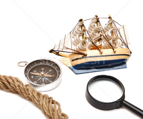 loupe, rope, compass and model classic boat  Stock photo © inxti