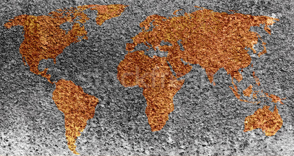 The world map formed by corrosion stains on metal  Stock photo © inxti