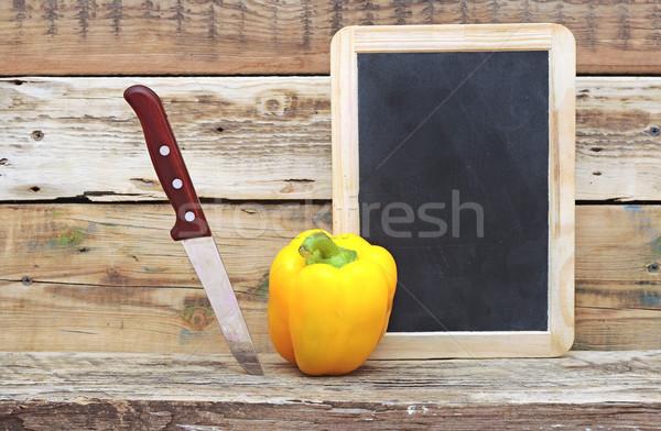 パプリカ ナイフ 木製 黒板 金属 キッチン ストックフォト © inxti