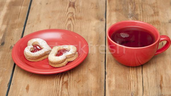 Taza té casero cookies forma corazón Foto stock © inxti