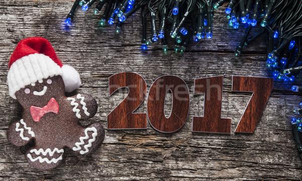 Peperkoek cookies christmas houten tafel eigengemaakt cake Stockfoto © inxti