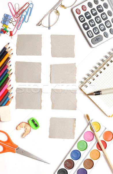 Hebdomadaire calendrier bureau style papier école Photo stock © inxti