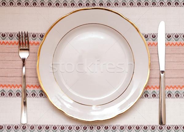Couteau blanche plaque fourche nappe texture Photo stock © inxti