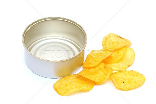 Sózott burgonyaszirom doboz fehér citromsárga krumpli Stock fotó © inxti