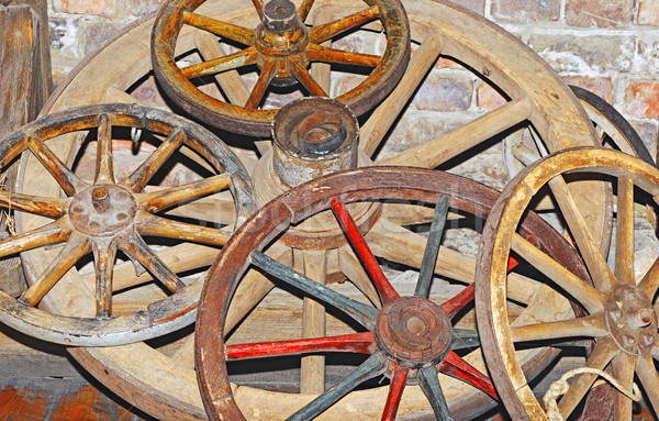 Antique wagon wheel Stock photo © inxti
