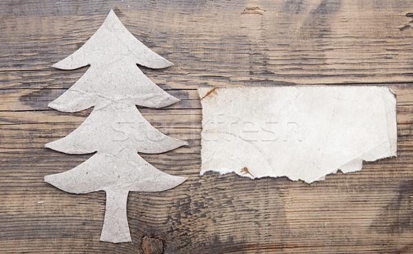 Karácsonyfa papír öreg üres papír szöveg terv Stock fotó © inxti