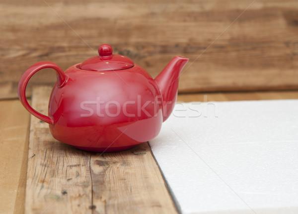 Teáskanna fa asztal fa űr szöveg kép Stock fotó © inxti