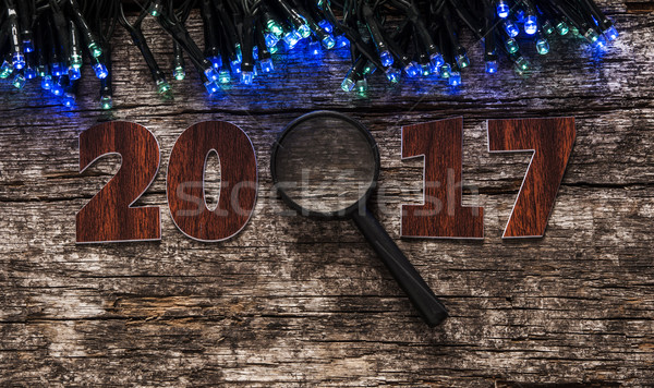 Happy new year 2017 on wood background Stock photo © inxti