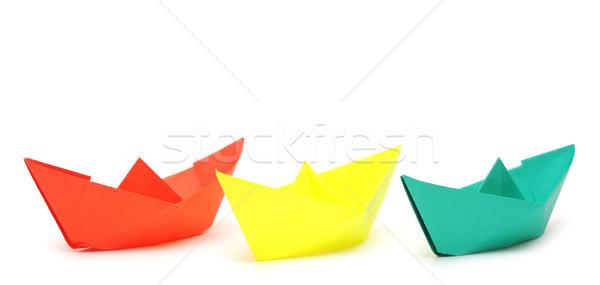 Papír hajók hajó izolált fehér háttér Stock fotó © inxti