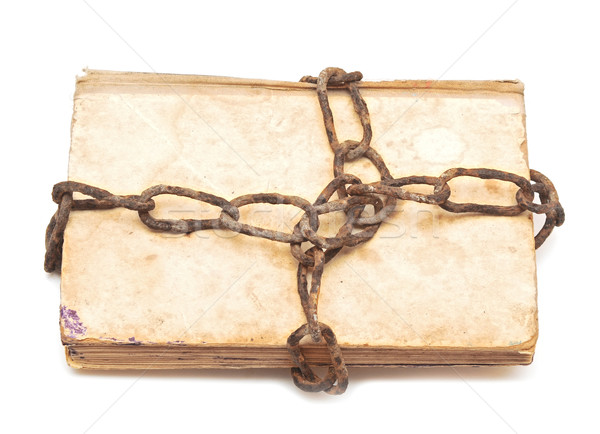 old book with chain on white background  Stock photo © inxti