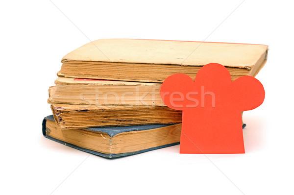 Papír forma szakács sapka boglya könyvek könyv Stock fotó © inxti