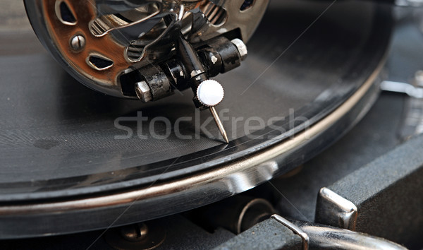 Bağbozumu gramofon vinil ahşap renk ses Stok fotoğraf © inxti
