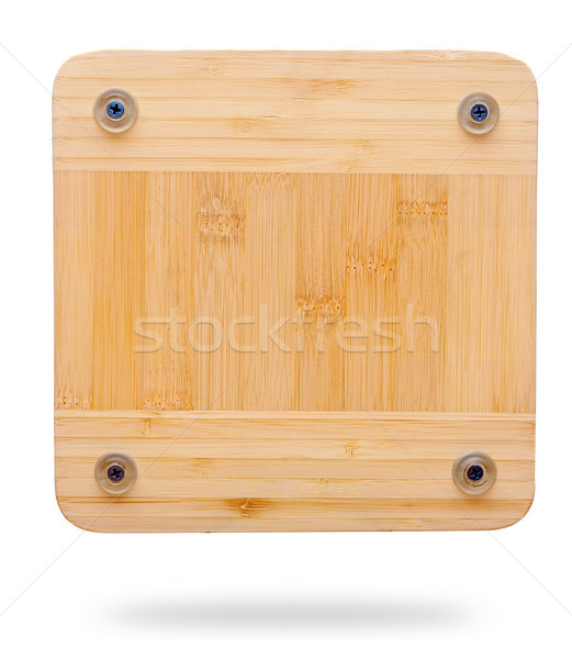 Wooden plaque attached with nails. copy space for your text Stock photo © inxti