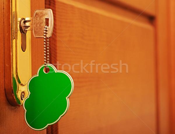 ключевые замочную скважину Label дома дизайна домой Сток-фото © inxti