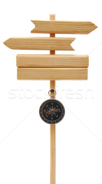 wooden arrows road sign with compass Stock photo © inxti