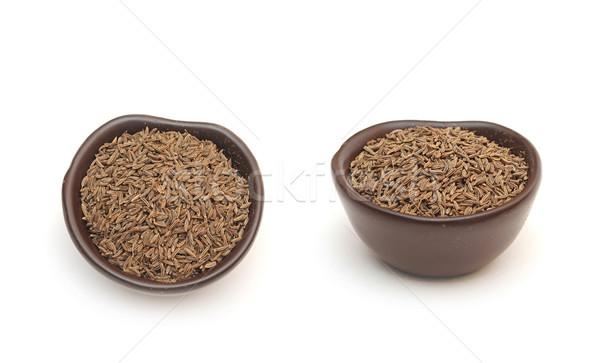 スパイス クミン 種子 粘土 ボウル 孤立した ストックフォト © inxti
