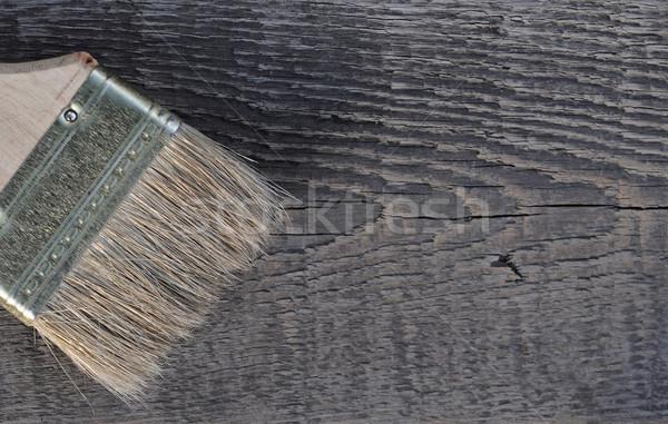 Stockfoto: Oud · hout · textuur · penseel · hand · gebouw · hout