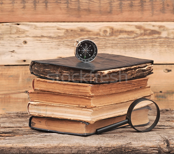 ストックフォト: スタック · アンティーク · 図書 · コンパス · 拡大鏡 · 紙