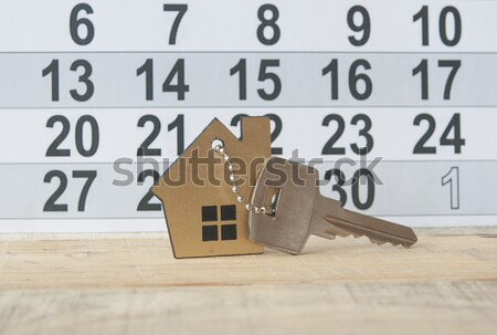 House icon hanging on a arrows of hour Stock photo © inxti
