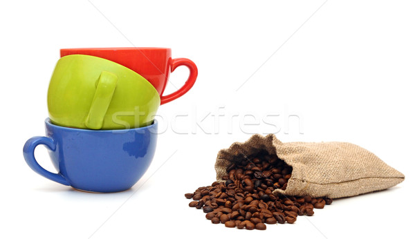 colorful cups of coffee and beans isolated on white background  Stock photo © inxti