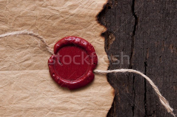 Vintage blank red wax seal Stock photo © inxti
