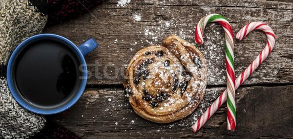 Mug chaud thé café écharpe Noël Photo stock © inxti