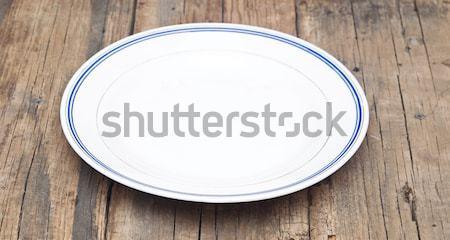 Boş plaka çuval bezi gıda uzay kumaş Stok fotoğraf © inxti