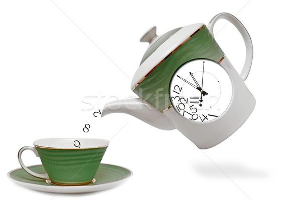 Porcellana teiera clock fronte tè tempo Foto d'archivio © inxti