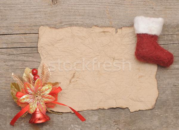 Foto stock: Carta · pergamino · Navidad · almacenamiento · rojo