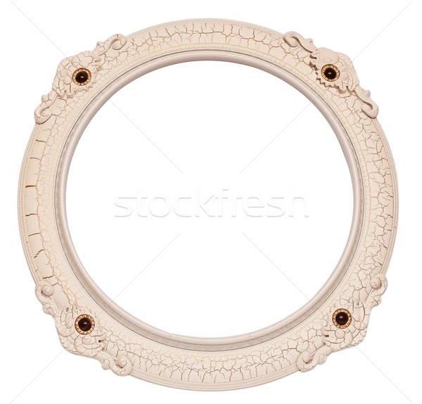 round ornamented old picture frame isolated on white Stock photo © inxti