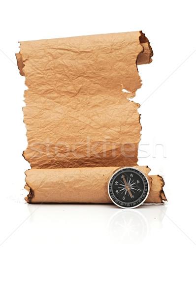 Сток-фото: стороны · бумаги · выделите · компас · белый · карта