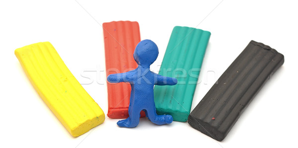 Color children's plasticine lies on a white background Stock photo © inxti