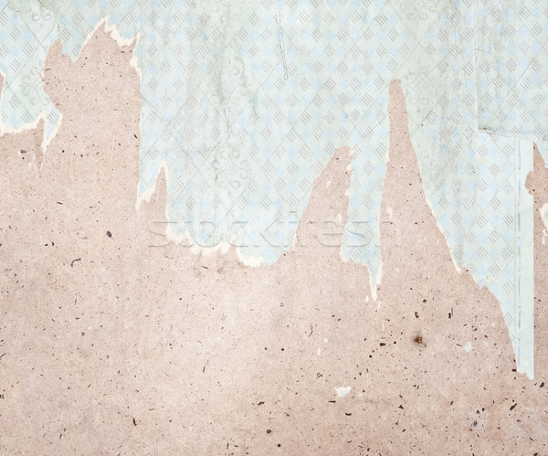 Fragment of old destroyed wall with wallpaper in abandoned house Stock photo © inxti
