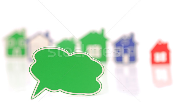 blank bubble speech over the houses background Stock photo © inxti